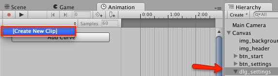 Создаем новую анимацию в Unity